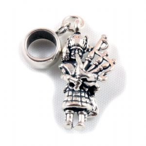 Charm School UK > Sterling Silver Dangle Charms > Music And Dance > Scottish Piper 3D Sterling Silver Dangle Charm / Carrier Bead